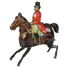 Wonderful Gunthermann German Clockwork / wind-up rider on horseback, circa 1930
