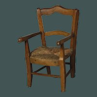 "GREAT Antique 19th century French small 15"" chair for bisque doll or steiff bear"