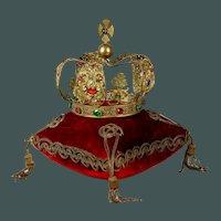 Spectacular huge Antique Gilded Bronze French Religious Santos crown Napoleon III Era