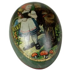 Antique 1890's German little Red Riding Hood Egg tin lithographic tinplate, penny toy ~ Easter candy container