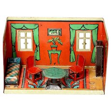 """Vintage litho tin miniature 5"""" dollhouse with tin furniture  Orobr Brandenburg German1920's"""