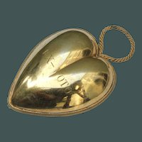 "Museum Item ANTIQUE 1819/1838 Item HUGE 5.74 "" &  HEAVY 172 gram gilt Vermeil French SOLID Silver Ex-Voto Heart initail: EX-VOTO"