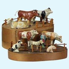 "Large 4"" Antique German 1800's Papier Mache putz, wood stick legs farm set animals  in original folks art Bentwood box used in French, Cow, Bull, Goat, Dog, Pig, Farmer"