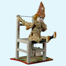 Unusual Antique 1890 German doll  bisque Factory mechanical clown