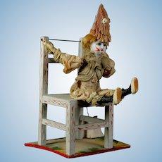 Unusual Antique 1890 German doll  bisque Factory mechanical clown