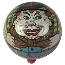 Super rare tin CLOWN Antique money box bank 1900's German lithographe tinplate, penny toy ~ candy container