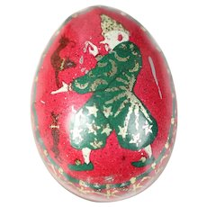 Antique 1890's German little Clown Egg tin lithograph tinplate, penny toy ~ Easter candy container