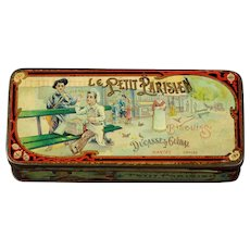 Special small  tin 1890s French advertising biscuit tin Le Petit Parisien lithograph great by doll