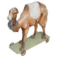Very unique large 20 inch Antique German pull toy antique toy papier mache CAMEL.