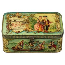 Super QUALITY Biscuit tin 1880's French advertising RELIEF tin Williot Fils Chicoree lithograph great by doll