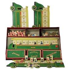 Rare almost 100 years old toy 1925 Paris Loto autobus Parisien game version of Unis France