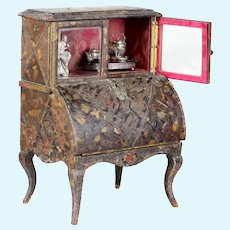 "Original miniature 13.4"" French fashion doll leather display desk cabinet, circa 1870s."