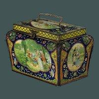 Beautiful antique basket shape French romantic lithograph tin