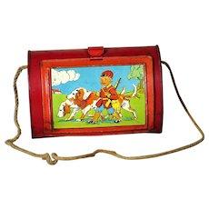 "SMALL 6.6"" red child  Antique BOTANIC BASKET box tin llithograph"