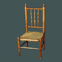 """Antique  faux-bamboo French 24.4 """" doll chair for bisque doll late 19th century"""