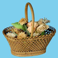 lovely & Rare Antique 19th century Miniature French doll Flower Wicker Picnic Basket