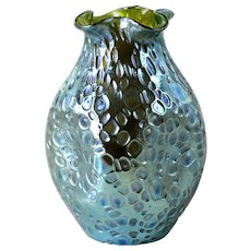 Large Loetz Art glass decor Crete Diaspora green/blue