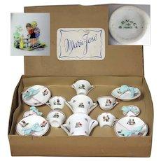 "Wonderful original old French porcelain child/doll Tea set Original presentation box ""Marie -José"""