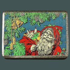 Wonderful Antique 1900's Dutch Tin Christmas Candy with Santa