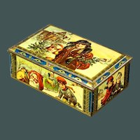 Beautiful Antique 1900's Dutch Lithograph Tin Christmas Candy with Santa and children