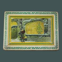 Romantic Early 1920's French Lithograph Christmas Tin Candy container