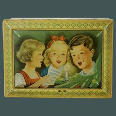 Beautiful Early 1920's French Lithograph Christmas Tin  Candy container singing children