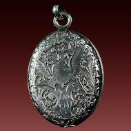 Fine quality Antique French Silver Double Mirror Lock & Slide Pendant VICTORIAN PERIOD