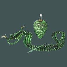 Antique German Green Mercury Grape Glass Kugeland beads Christmas Ornament ca1890
