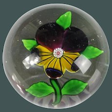 Antique Baccarat French art glass Paper weight PANSY FLOWER Star Cut Base 1850