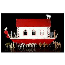 """Antique 29.5"""" TALL wooden Noah's Ark Toy with Hand Carved figurines"""