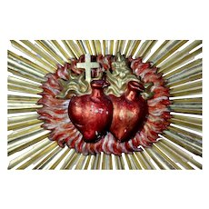 """Antique 19th Century Huge 35"""" polychrome WOODEN Gilded French CHURCH Flaming Sacred Heart s Ex voto"""