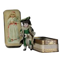 """Antique French All - bisque 4"""" Boy mignonette doll in a wonderful christmas presentation circa 1890s"""