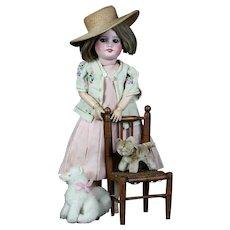 "Elegant Antique French 16"" Bisque head cabinet doll SFBJ 60 Paris large brown eyes"