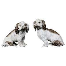 Pair Meissen Porcelain Bolognese Dog Figurines late18th - early 19th century