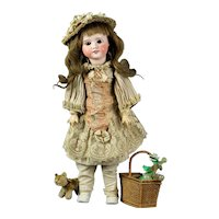 """Beautiful  19.5"""" Antique French SFBJ 60 Bisque head cabinet doll large sister from Bleuette"""