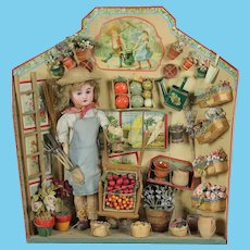 Museum item Large French Etrennes Presentation Card Gardener with Original Accessories