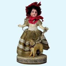 Antique Candy Container Doll with bonnet and Dog \ Magasins du Louvre Paris Bisque Head
