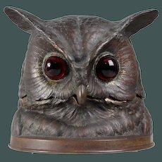 Impressive antique Bronze Owl inkwell glass eyes Vienna Bronze area