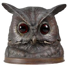 Impressive antique Bronze Owl inkwell glass eyes Vienna Bronze area