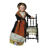 """All Original Antique 13"""" French Bisque Doll SFBJ in French Provincial Fashion  Clothing, marked Éden Bébé"""