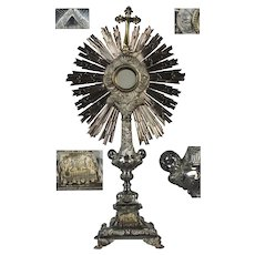 antique & dated 1871 French Sterling Silver & Vermeil Imposing Monstrance Ostensoir