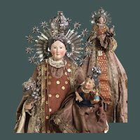 19th Century Procession Santos doll wood polychrome solid silver Crowns Madonna & Jesus Religious Spanish