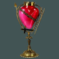Antique French 19th C. Ruby glass bleeding Sacred Heart Crown of Thorns Veilleuse lamp