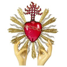 """Impressive HUGE 11.6"""" Antique 19th C. French Gilded Brass Rays Crown of Thorns Flaming Sacred Heart"""