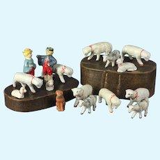 Antique French 16 piece Papier Mache sheep shepherd & wife set in original folks art Bentwood box, Sheeps / Goats / Dog