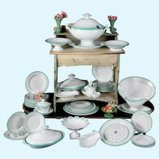 Superb Petrus Regout Maastricht Dutch Creamware MINIATURE Dinner Service, Circa 1880, 39 piece