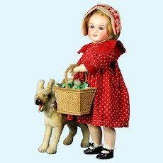 """Gorgeous tiny 17""""  French Jumeau Bebe cabinet doll w/ basket little Red Riding Hood style, SFBJ 301"""
