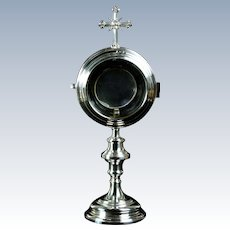 Antique 19th century French solid silver monstrance ostensorium