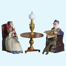Wonderful Antique French Nodding Monsieur & Mademoiselle Doll Nodder Paper Mache