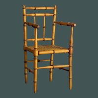 """Beautiful Antique French small 13"""" faux-bamboo arm chair for bisque doll"""